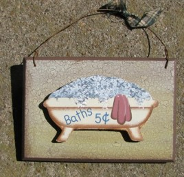 CWP20-Baths 5 cents wood sign