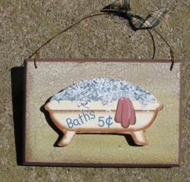 CWP20-Baths 5 cents wood sign