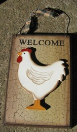 Primitive Chicken Wood Plaque CWP-8 3D Crackle Chicken