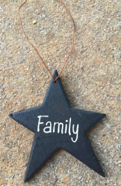Christmas Ornament Black Star Wood with Family written on star