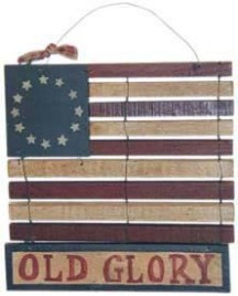 Patriotic Decor 21512-Mini Old Glory Wood Flag