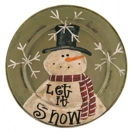 Primitive Wood Plate G33008 Let it Snow Snowman Plate
