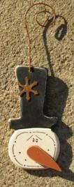 GC1617S - Snowman Top Hat Wood Ornament