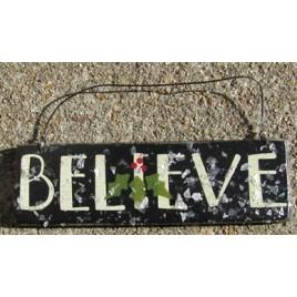 GH5166B - Believe wood sign