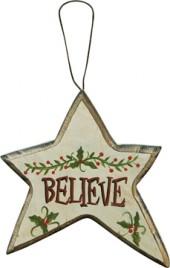 Wood Christmas Ornament X8160C-Believe Star