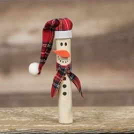Christmas Wood Ornament G8977 Pencil Snowman with Hat
