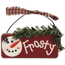 GJHX9070 Frosty Wood Sign Ornament