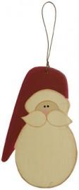 GR0409 - Santa Face Ornament Wood Christmas