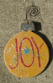 HO5150 - Joy Yellow Bulb wood ornament