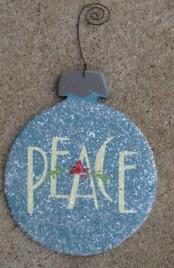 HO5151-Peace Aqua wood Bulb Christmas Ornie