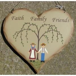HP26 - Faith Family Friends wood heart