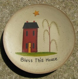 NEW-9 Bless This House Wood Plate