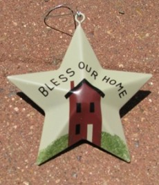 OR-216 Bless our Home Metal Star Christmas Ornament