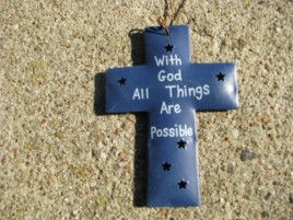 OR-340-With God All Things Possible Metal Christmas Ornament