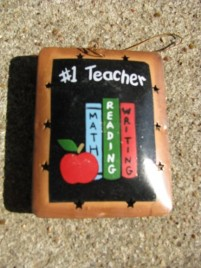 Teacher Gifts OR-336 #1 Teacher Metal Christmas Ornament
