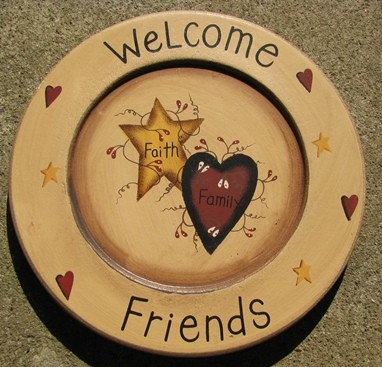 P10WF -Welcome Friends Wood Plate