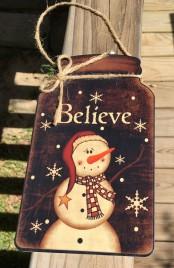 Christmas Decor 2418 Primitive Snowman Mason Jar Sign - Believe