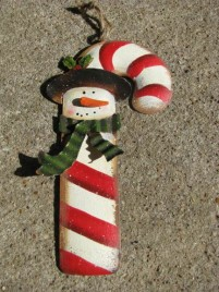 OR-601 Snowman./Candy Cane Metal Ornament