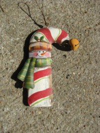 OR-508 Snowman Candy Cane Metal Ornament