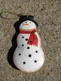 OR-344 Snowman Metal Christmas Ornament