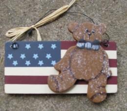 Wood Patriotic Sign 1088 - Bear on Flag