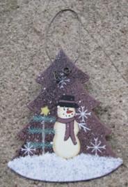 1102 - Metal Tree Snowman Ornament