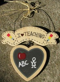 1133 - I Love Teaching wood heart