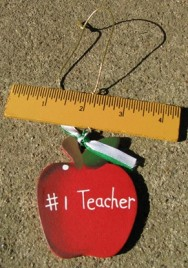 1134 - #1 Teacher Apple Hanging by Ruler
