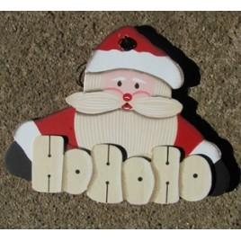 1139 - Santa - HO HO HO Wood Christmas Ornament