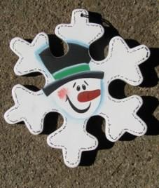 Christmas Snowman Wood Ornament 1140 - Snowman Puzzle Piece Ornament