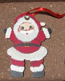 1161 - Little Boy Santa Wood Christmas Ornament