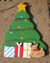 Wood Christmas Ornament wd1269-Christmas Tree with Bear