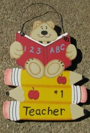 1369 - #1 Teacher Bear ABC 123 on pencils