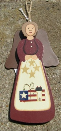 WD1392 - Wood Maroon Angel with Flag and metal wings