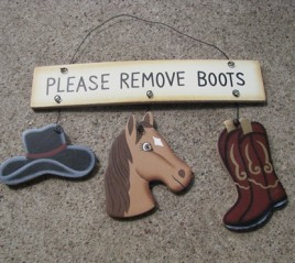WD2106-Please Remove Boots Wood Sign