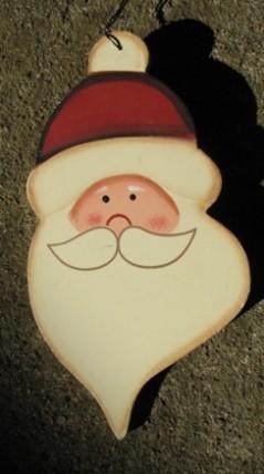 73 - Santa Face Wood Christmas Ornament