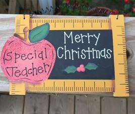 Wood Christmas Ornament 78 - Merry Christmas Teacher Slate