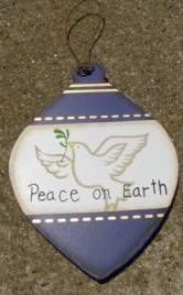 Wood Christmas Ornament wd854 -Peace on Earth Dove
