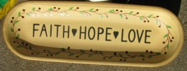 XP-2A Faith Hope Love Wood Oval Plate